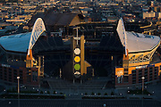 Top view of the Qwest Field footbal stadium, the home of the Seahawks, in Seattle, Washington.