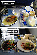 Airline Food: Economy Vs. First Class <br /> <br /> What used to be a woman's size 12 in 1968 is a woman's size 4 today; what used to be third-class is economy-class today. What changed? We've grown more sensitive: I'm not overweight, I still fit into a size 12. I'm not a third-class passenger, I'm a price conscious individual that rides in economy-class.<br /> Despite the name games, airline food hasn't changed much. Economy class meals still come in a wrapper, and business or first-class meals come with real cutlery. This list shows the sometimes striking difference between what the different classes eat.<br /> <br /> Photo shows: British Airways<br /> ©Exclusivepix Media
