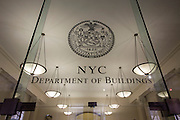 Entrance of the federal City of New York Buildings Department, on Broadway, Manhattan.