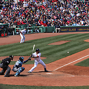 Mike Napoli, Boston Red Sox, hits in the bottom of the ninth to bring home Dustin Pedroia for the winning run in Boston's 3-2 win over the Tampa Bay Rays during the Boston Red Sox V Tampa Bay Rays, Major League Baseball game on Jackie Robinson Day, Fenway Park, Boston, Massachusetts, USA, 15th April, 2013. Photo Tim Clayton