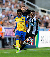 Football - 2021 / 2022 Premier League - Newcastle United vs Southampton - St Jame's Park - Saturday 28th August 2021<br /> <br /> Kyle Walker-Peters of Southampton vies with Joe Willock of Newcastle United<br /> <br /> Credit: COLORSPORT/Bruce White
