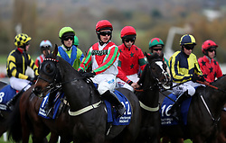 Rolling Maul and James Bowen before the Pertemps Network Handicap hurdle during day two of the Showcase at Cheltenham Racecourse