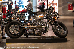 Fight Club, Kurt Max-T Sturr's first custom bike build with an S&S Evo motor and lots of handmade parts, from San Mateo, California. On view at the Handbuilt Show. Austin, Austin USA. Sunday, April 14, 2019. Photography ©2019 Michael Lichter.