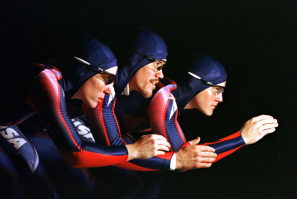 U.S. Olympic speedskaters , (l-r), Christine Witty, K.C. Boutiette and Casey FitzRandolph.