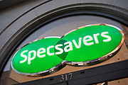 Sign for the optical brand Specsavers on 21st January 2020 in London, England, United Kingdom. Specsavers Optical Group Ltd is a British multinational optical retail chain.