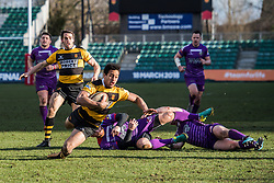 Newport's Jon Morris is tackled by Ebbw Vale's Ronny Kynes - Mandatory by-line: Craig Thomas/Replay images - 04/02/2018 - RUGBY - Rodney Parade - Newport, Wales - Newport v Ebbw Vale - Principality Premiership