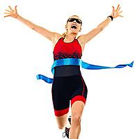 one caucasian woman practicing triathlon triathlete ironman runner running jogger jogging in studio shot  isolated on white background