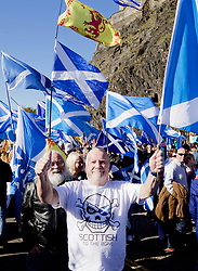 Independence campaigners marching in the shadow of Edinburgh Castle pic copyright Terry Murden @edinburghelitemedia