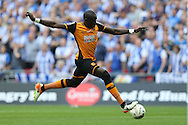 Mohamed Diame of Hull City taking a shot at goal. Skybet football league Championship play off final match, Hull city v Sheffield Wednesday at Wembley Stadium in London on Saturday 28th May 2016.<br /> pic by John Patrick Fletcher, Andrew Orchard sports photography.