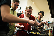 SAN FRANCISCO, CA – SEPTEMBER 16, 2017: Incoming freshmen in the class of 2021 prepare breakfast in the California Street residence hall.<br /> <br /> Minerva is a unique 21st century university built on a global four-year education model. It is deliberately designed to enhance intellectual growth and prepare students for success in today's rapidly changing global context. Founded in 2014, the university targets the developing world's rising middle class who seek an elite American education. With a 2.8% acceptance rate among the founding class, Minerva is the most selective undergraduate program in U.S. history.