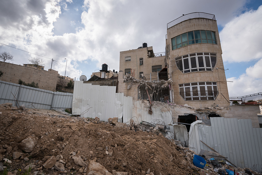 29 February 2020, Jerusalem: Part of a home in the Shu'fat village in Jerusalem has just been demolished. As building permits are notoriously difficult, in some cases impossible, for Palestinians to obtain, demolition of houses stated not to have the relevant permits is common in the area. This time, the family lost their living room, two bathrooms, and kitchen.