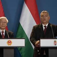 Nguyen Phu Trong (L) General Secretary of the Communist Party of Vietnam and Viktor Orban (R) prime minister of Hungary talk during a joint press conference in Budapest, Hungary on Sept. 10, 2018. ATTILA VOLGYI