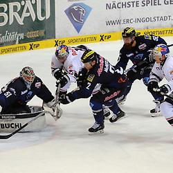 torversuch des EHC Red Bull Muenchen<br /> mit auf dem Bild 51 Timo Pielmeier (Torwart ERC Ingolstadt), 2 Patrick McNeill (Spieler ERC Ingolstadt), 50 Thomas Pielmeier (Spieler ERC Ingolstadt),15 Jason Jaffray (Spieler EHC Reb Bull Muenchen) und 77 Ulrich Maurer (Spieler EHC Reb Bull Muenchen)<br /> Am 50. Spieltag spielte der ERC Ingolstadt gegen EHC Red Bull München in Ingolstadt in der Saturnarena am 06.03.16 in der Saison 2015/2016 beim Spiel in der DEL, ERC Ingolstadt (blau) - EHC Red Bull Muenchen (weiss).<br /> <br /> Foto © PIX-Sportfotos *** Foto ist honorarpflichtig! *** Auf Anfrage in hoeherer Qualitaet/Aufloesung. Belegexemplar erbeten. Veroeffentlichung ausschliesslich fuer journalistisch-publizistische Zwecke. For editorial use only.