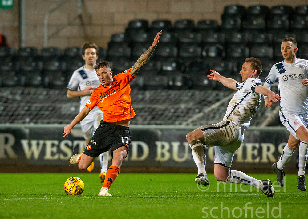 Dundee United's Jamie Robson and Alloa Athletic's Andy Graham. Dundee United 2 v 1 Alloa Athletic, Scottish Championship game played 7/12/2019 at Dundee United's stadium Tannadice Park.