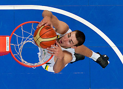 Jonas Valanciunas of Lithuania during basketball game between National basketball teams of Lithuania and France at FIBA Europe Eurobasket Lithuania 2011, on September 9, 2011, in Siemens Arena,  Vilnius, Lithuania. France defeated Lithuania 73-67.  (Photo by Vid Ponikvar / Sportida)