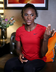 Dina Asher-Smith during a media interview with the Press Association, at The Curtain hotel in London. PRESS ASSOCIATION Photo. Picture date: Wednesday September 19, 2018. Photo credit should read: Yui Mok/PA Wire