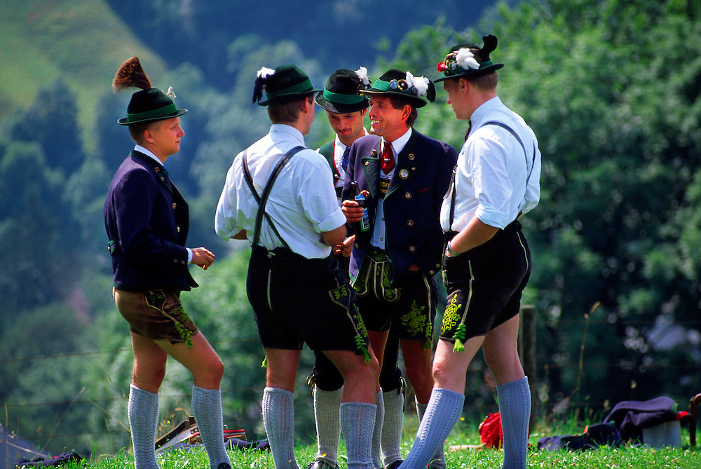 Bavarian men in native costume on Lockstein Mountain, Above Berchtesgaden, Bavaria, Germany