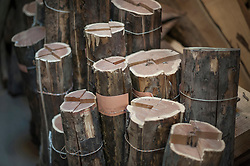 Wooden logs for instrument making at art studio