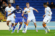 Cardiff City's Kagisho Dikgacoi (blue) takes on Hull City's Sam Clucas. Skybet football league championship match, Cardiff city v Hull city at the Cardiff city stadium in Cardiff, South Wales on Tuesday 15th Sept 2015.<br /> pic by Carl Robertson, Andrew Orchard sports photography.