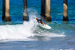 Hiroto Ohhara (JPN) is eliminated from the 2018 VANS US Open of Surfing after placing third in Heat 13 of Round 2 at Huntington Beach, California, USA.