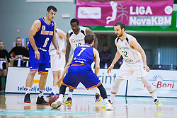 Marjan Cakarun of KK Helios Suns , Jan Mocnik of KK Helios Suns Christopher Booker of KK Zlatorog and Daniel Vujasinovic of KK Zlatorog during basketball match between KK Zlatorog and KK Helios Suns in 1st match of Nova KBM Slovenian Champions League Final 2015/16 on May 29, 2016  in Dvorana Zlatorog, Lasko, Slovenia.  Photo by Ziga Zupan / Sportida
