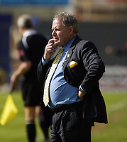 Photo: Chris Ratcliffe.<br />Leyton Orient v Peterborough United. Coca Cola League 2. 29/04/2006.<br />Barry Fry, the Peterborough manager watches on nervously.