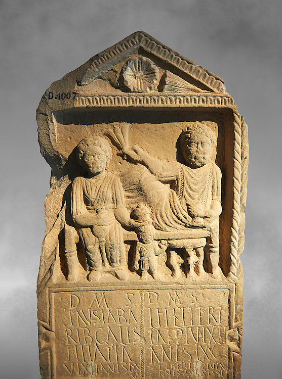 Second century Roman Christian funerary stele for 3 dead people from Africa Proconsularis. The stele depicts the deceased:  Fausata who died age 75, a man who died age 70 and a child who died age 2 years 6 months. From the first half of the second century AD from the region of Bou Arada in present day Tunisia. The Bardo National Museum, Tunis, Tunisia. Against a grey art background. .<br /> <br /> If you prefer to buy from our ALAMY STOCK LIBRARY page at https://www.alamy.com/portfolio/paul-williams-funkystock/greco-roman-sculptures.html . Type -    BARDO    - into LOWER SEARCH WITHIN GALLERY box - Refine search by adding a subject, place, background colour, museum etc.<br /> <br /> Visit our CLASSICAL WORLD HISTORIC SITES PHOTO COLLECTIONS for more photos to download or buy as wall art prints https://funkystock.photoshelter.com/gallery-collection/The-Romans-Art-Artefacts-Antiquities-Historic-Sites-Pictures-Images/C0000r2uLJJo9_s0c