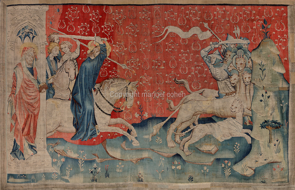 The Word of God charges the Beasts, with the word of God personified wearing a blue cloak, sword raised, charging at the beasts and their armies, and St John, detail of the sixth piece depicting the New Jerusalem, from the Tenture de l'Apocalypse or Apocalypse Tapestry, made 1373-82 by Nicolas Bataille in the workshop of Robert Poincon after preparatory drawings by Hennequin de Bruges, in the Musee de la Tapisserie de l'Apocalypse, in the Chateau d'Angers, Angers, Maine-et-Loire, France. The tapestry was commissioned by Louis I duc d'Anjou and depicts the Apocalypse of John. It measures 140m and is divided into 6 pieces with 90 scenes. Although bequeathed to Angers Cathedral by King Rene in the 15th century, the tapestry was reconstructed and restored in the 19th century, listed as a historic monument and exhibited in the castle. Picture by Manuel Cohen