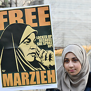 """London, England, UK: US is the biggest abuses of demoncracy and human right. Protestors demand to Marzieh is an African-American, Muslim Journalist who was arrested on January 13th and is being held without charge under a controversial """"Material Witness"""" law in the United States. 25 January 2019 at U.S. Embassy London 33 Nine Elms Lane, , London, UK"""