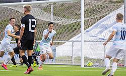 Målscorer Elijah Just (FC Helsingør) jubler efter scoringen til 1-0 under kampen i 1. Division mellem FC Helsingør og Vendsyssel FF den 18. september 2020 på Helsingør Stadion (Foto: Claus Birch).