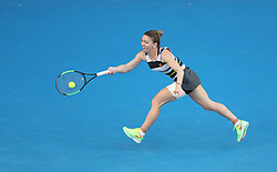 MELBOURNE, Jan. 19, 2019  Simona Halep of Romania returns the ball during the women's singles 3rd round match against Venus Williams of the United States at the Australian Open in Melbourne, Australia, Jan. 19, 2019. (Credit Image: © Bai Xuefei/Xinhua via ZUMA Wire)