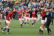04 December 2011: Stanford players race from the bench at the end of the game to join the celebration on the field. The Stanford University Cardinal defeated the Duke University Blue Devils 1-0 at KSU Soccer Stadium in Kennesaw, Georgia in the NCAA Division I Women's Soccer College Cup Final.