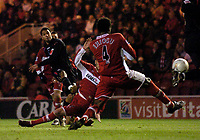 Photo: Jed Wee.<br /> Middlesbrough v Crystal Palace. Carling Cup. 30/11/2005.<br /> <br /> Crystal Palace's Jobi McAnuff (L) fires a shot in as his team searches for the equaliser.