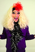 excited Drag Queen with blond wig