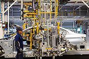 SAN LUIS POTOSI, MEXICO - JUNE 13, 2019: Bodywork area in the BMW vehicles production plant in Mexico.