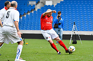 Dave Norton of England over 50's shoots at goal during the world's first Walking Football International match between England and Italy at the American Express Community Stadium, Brighton and Hove, England on 13 May 2018. Picture by Graham Hunt.