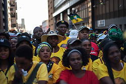 May 12, 2019 - Johannesburg, South Africa - South African ruling party African National Congress (ANC) supporters listen to South African President and President of the ruling party African National Congress (ANC) Cyril Ramaphosa during an ANC election victory rally on May 12, 2019, in central Johannesburg. (Credit Image: © Michele Spatari/NurPhoto via ZUMA Press)