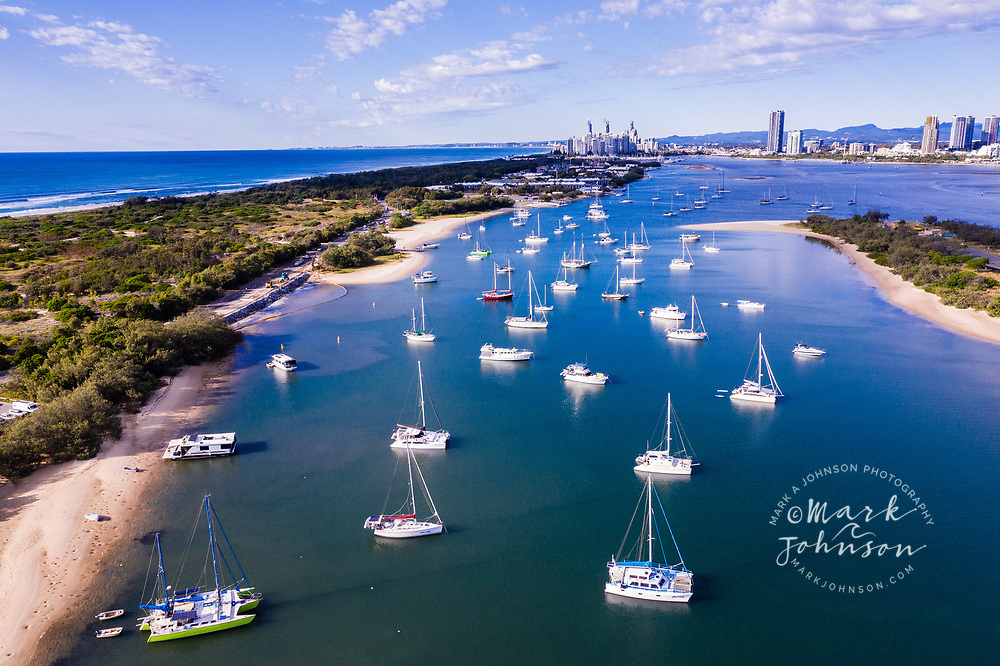 Aerial view of boats at anchor, The Spit & Broadwater, Gold Coast, Queensland, Australia