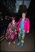 MOLLY PARKIN; MARTIN THORNTON, Andrew Logan's Alternative Miss World 2014. Shakespeare's Globe, London. 18 October 2014.