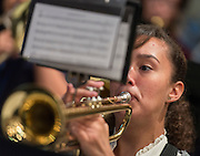The jazz band plays during a stop of Superintendent Richard Carranza's Listen & Learn Tour of the district at Chavez High School, September 15, 2016.