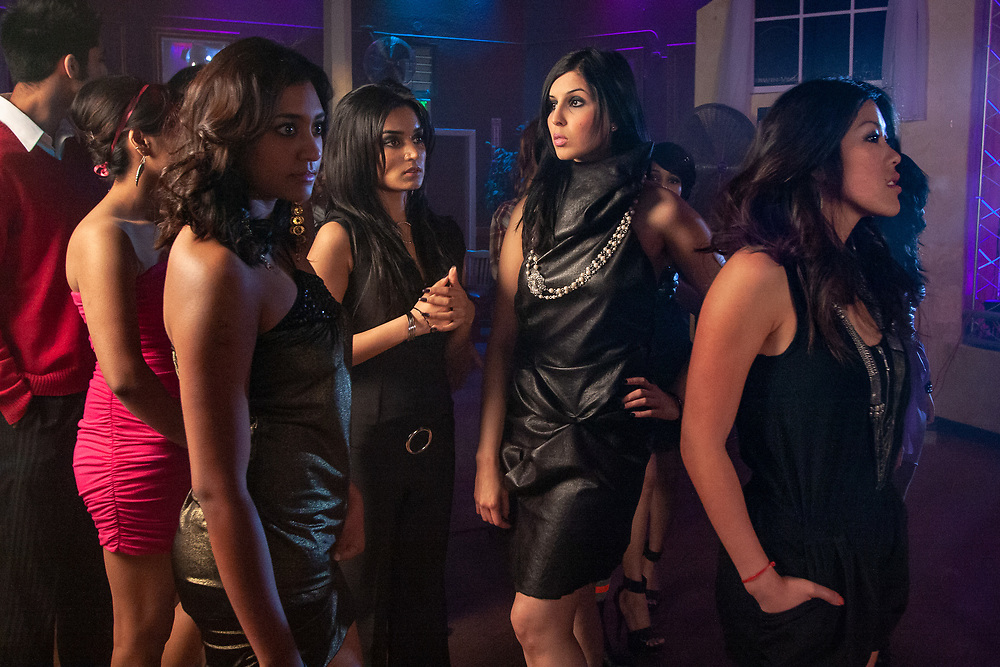 Mountain View, California | 2010<br /> Models Amrita Singh, Rashi Stephens, and Naireesa Khan wait for filming to begin on the set of a music video.