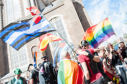 July 29, 2017 - Amsterdam, The Netherlands - On July 29th the Pride Amsterdam starts with the so called Pride Walk. During this opening activity, the organization expects a thousands of people walking along the center of Amsterdam. The Pride Walk is a demonstrative and activist walk from the Homomonument to the Vondelpark. This is the 'counterpart' of the world-famous boat parade that takes place a week later on August 5th. Most pride events occur annually, and many take place around June to commemorate the 1969 Stonewall riots in New York City, a pivotal moment in modern LGBT social movements. The motto of this year is ''This is my pride' (Credit Image: © Romy Arroyo Fernandez/NurPhoto via ZUMA Press)
