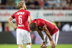 Fredrik Midtsjo of AZ, Pantelis Hatzidiakos of AZ during the UEFA Europa League second round qualifying match between AZ Alkmaar and FC Kairat at the AFAS stadium on August 02, 2018 in Alkmaar, The Netherlands
