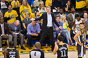 Golden State Warriors head coach Steve Kerr reacts to a foul called on Golden State Warriors forward Draymond Green (23) at Oracle Arena during Game 2 of the Western Semifinals against the New Orleans Pelicans in Oakland, California, on May 1, 2018. (Stan Olszewski/Special to S.F. Examiner)
