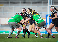 Ebony Jefferies of Exeter Chiefs is tackled by Chloe Edwards of Harlequins - Mandatory by-line: Andy Watts/JMP - 06/02/2021 - Sandy Park - Exeter, England - Exeter Chiefs Women v Harlequins Women - Allianz Premier 15s