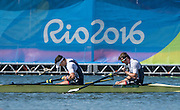 "Rio de Janeiro. BRAZIL.  GBR M2-, Bow Alan SINCLAIR and Stewart INNES.  ""Disappointed"".  2016 Olympic Rowing Regatta. Lagoa Stadium,<br /> Copacabana,  ""Olympic Summer Games""<br /> Rodrigo de Freitas Lagoon, Lagoa.   Thursday  11/08/2016 <br /> <br /> [Mandatory Credit; Peter SPURRIER/Intersport Images]"