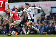 Son Heung-Min of Tottenham Hotspur in action. Barclays Premier league match, Tottenham Hotspur v Manchester Utd at White Hart Lane in London on Sunday 10th April 2016.<br /> pic by John Patrick Fletcher, Andrew Orchard sports photography.