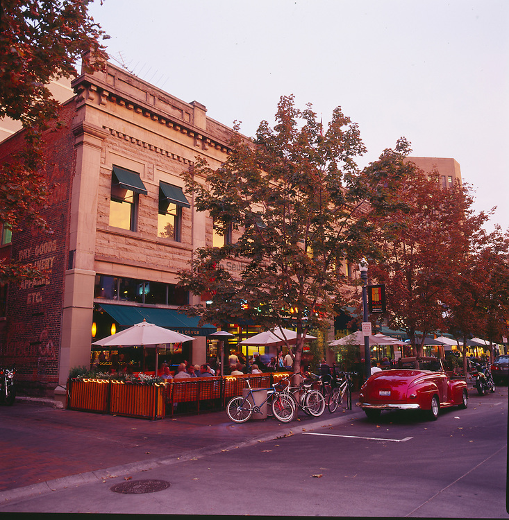 view of downtown 8th Street on a busy summer's evening.