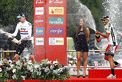 11.09.2011, Madrid,  ESP, LA VUELTA 2011, Finish, im Bild Juan Jose Cobo (r) celebrates the victory in La Vuelta 2011 with Bradley Wiggins, Second place (l).September 11,2011. EXPA Pictures © 2011, PhotoCredit: EXPA/ Alterphoto/ Paola Otero +++++ ATTENTION - OUT OF SPAIN/(ESP) +++++