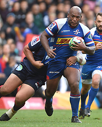 Cape Town-180427 Ramone Samuels of Stomers challenged by  Rebels player in a Super 15 match played at Newlands stadium.photograph:Phando Jikelo/African News Agency/ANA